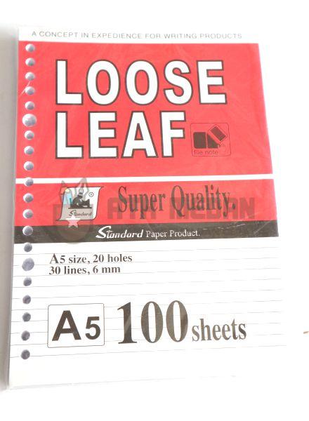 Isi Buku Loose Leaf Kecil Ukuran A5 100 Lembar