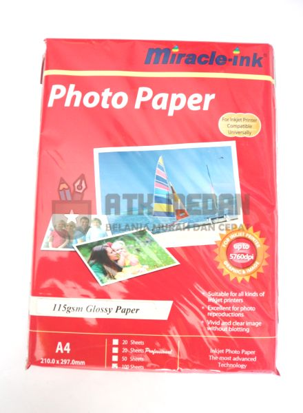 Kertas Foto / Photo Paper 115gsm A4 Miracle